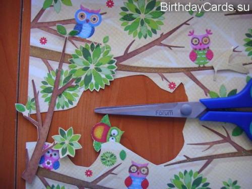 Вырезаем сову и ветки из бумаги для скрапбукинга