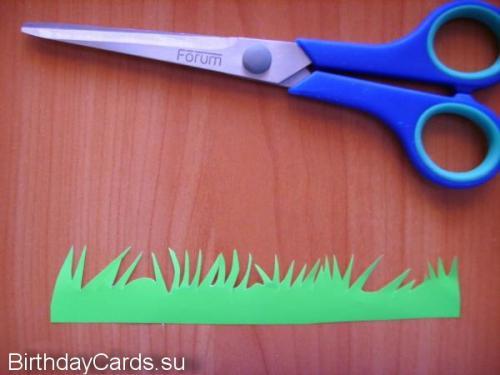 Вырезаем травинки в верхней части прямоугольника